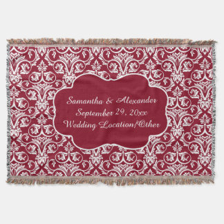 Personalized Damask Wedding/Keepsake Custom Maroon Throw Blanket