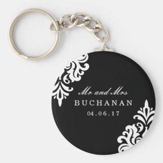 Personalized Damask Wedding Keepsake Keychain