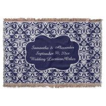 Personalized Damask Wedding/Keepsake Navy Blue Throw Blanket