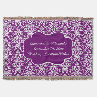 Personalized Damask Wedding/Keepsake Purple Throw