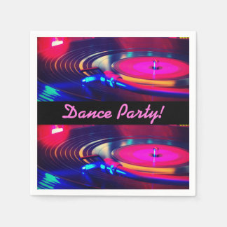 Personalized Dance Party Retro Turn Table Napkins