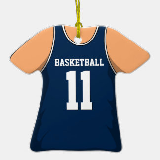 Personalized Dark Blue Basketball Jersey 11 V1 Double-Sided T-Shirt Ceramic Christmas Ornament