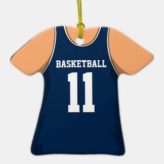 Personalized Dark Blue Basketball Jersey 11 V1 Christmas Ornaments