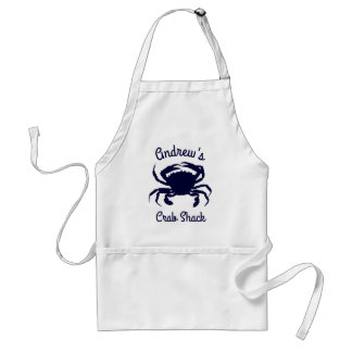 Personalized Dark Blue Crab Silhouette Adult Apron