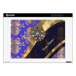 Personalized dark blue damask pattern decal for acer chromebook