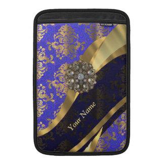 Personalized dark blue damask pattern MacBook air sleeves