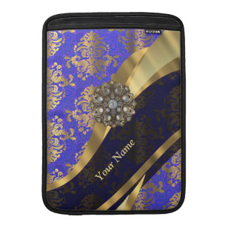 Personalized dark blue damask pattern sleeve for MacBook air