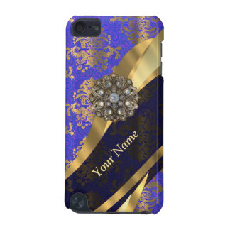 Personalized dark blue damask pattern iPod touch (5th generation) cover