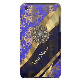 Personalized dark blue damask pattern iPod touch case