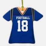 Personalized Dark Blue Football Jersey 18 V1 Ornament