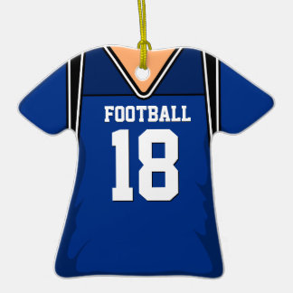 Personalized Dark Blue Football Jersey 18 V1 Double-Sided T-Shirt Ceramic Christmas Ornament