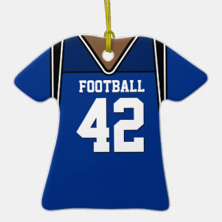Personalized Dark Blue Football Jersey 42 V2 Christmas Tree Ornament