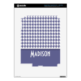 Personalized Dark Blue-Gray Houndstooth Skins For iPad 3