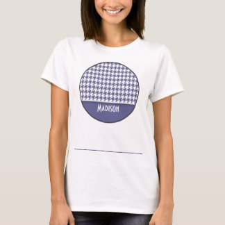 Personalized Dark Blue-Gray Houndstooth T-Shirt