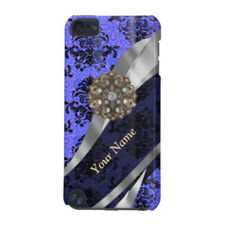 Personalized dark blue vintage damask iPod touch 5G case