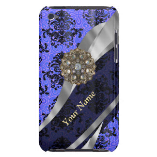Personalized dark blue vintage damask iPod touch case