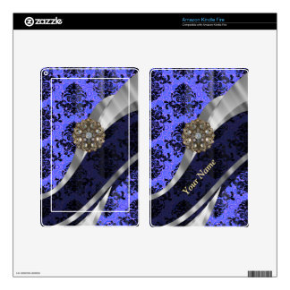 Personalized dark blue vintage damask kindle fire decals