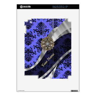 Personalized dark blue vintage damask iPad 2 decal