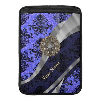 Personalized dark blue vintage damask sleeve for MacBook air