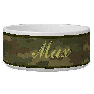 Personalized Dark Camouflage Pet Bowl