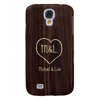 Personalized Dark Chocolate Wood Grain Texture Galaxy S4 Cases