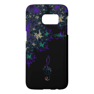 Personalized Dark Fractal Music Galaxy S7 Case