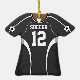Personalized Dark Gray/White Soccer Jersey 12 V2 Ornaments