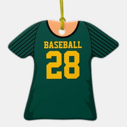 Personalized Dark Green Baseball Jersey 28 V1 Double-Sided T-Shirt Ceramic Christmas Ornament