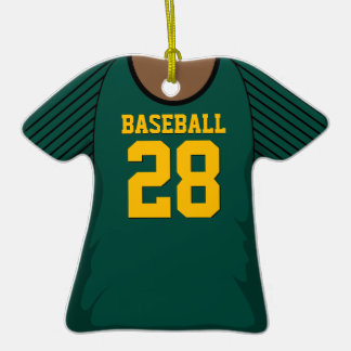 Personalized Dark Green Baseball Jersey 28 V2 Ornament