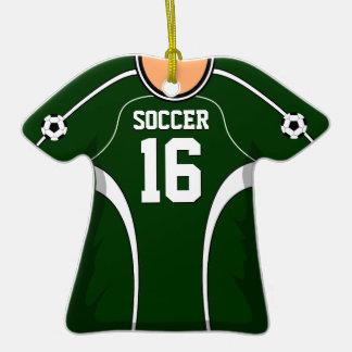 Personalized Dark Green/White Soccer Jersey 16 V1 Ornament