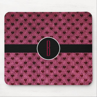 Personalized Dark Hearts Grunge Pattern Mouse Pad
