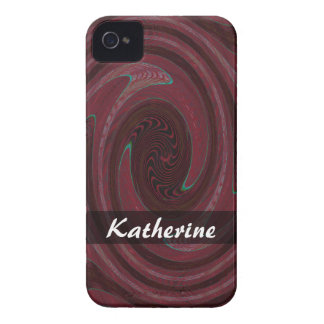 Personalized dark red circle abstract iPhone 4 Case-Mate case