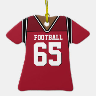 Personalized Dark Red Football Jersey 65 V2 Christmas Ornaments