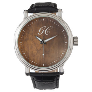 personalized dark wood face watch