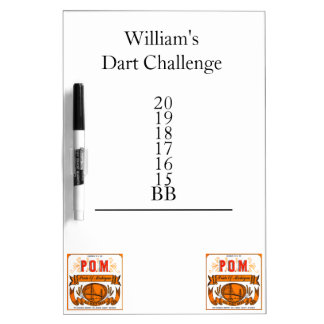 Personalized Dart Challenge Dry Erase Board