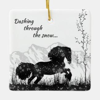 Personalized Dashing Through the Snow Horse Ceramic Ornament