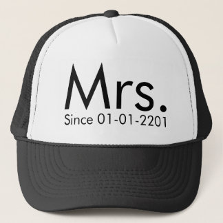Personalized Date Mrs. Just Married Bride Hat