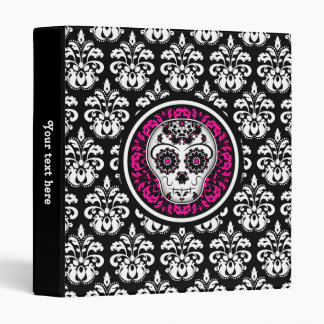 Personalized Day of the Dead sugar skull damask 3 Ring Binders