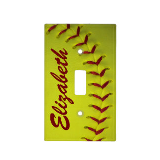 Personalized Dayglo Yellow Softball Light Switch Cover