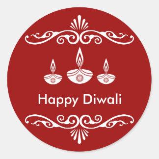 Personalized Decorative Diwali Design Classic Round Sticker