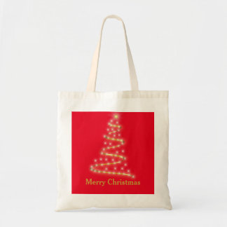 Personalized Decorative Golden Christmas Tree Gift Tote Bag