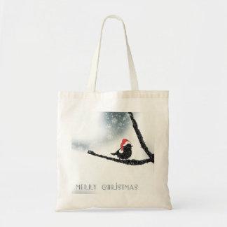 Personalized Decorative Merry Christmas Bird Santa Tote Bag