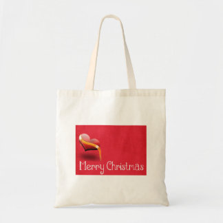 Personalized Decorative Merry Christmas Red Heart Tote Bag