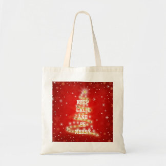 Personalized Decorative Red Merry Christmas Tree Tote Bag
