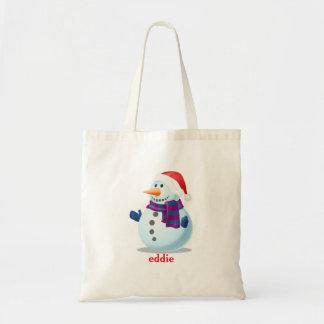 Personalized Decorative Snowman Santa Christmas Budget Tote Bag
