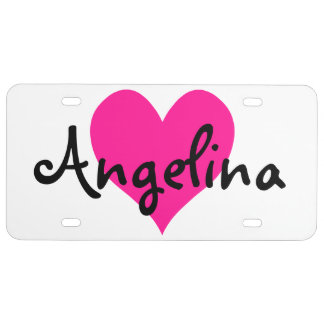 Personalized Deep Pink Cute Heart License Plate