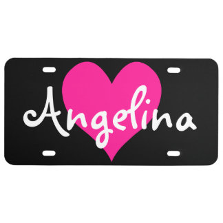 Personalized Deep Pink Cute Heart Shape License Plate