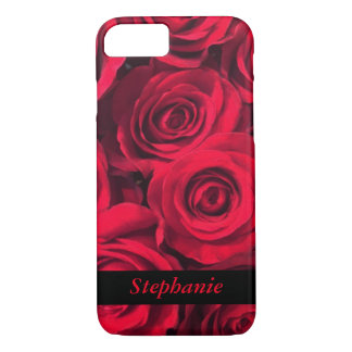 Personalized Deep Red Rose Blooms iPhone 8/7 Case