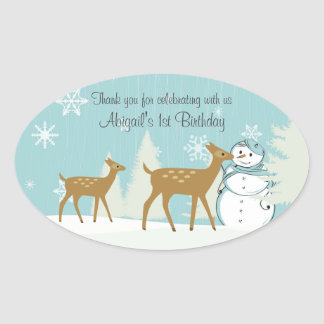 Personalized Deer and Snowman 1st Birthday Sticker