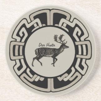 Personalized Deer Hunter Medallion Drink Coaster